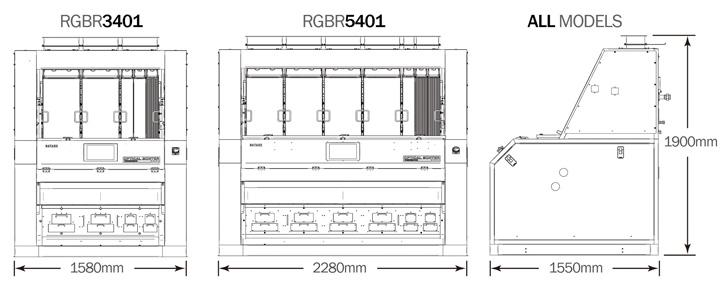 Satake RGBR 3401-5401 Sorter Dimensions